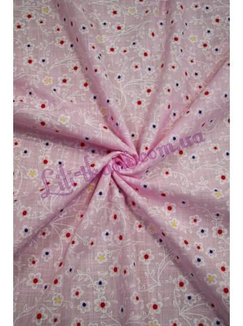 Батист розовый принт цветы