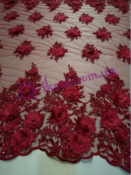 Гипюр 3d цветы расшитый