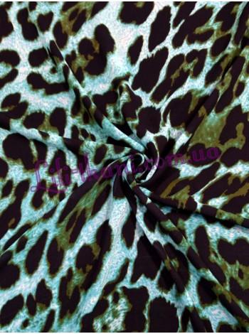 Шифон бирюзовый с леопардовым принтом