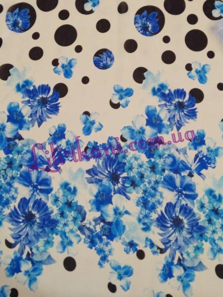Шифон молочный в горошек и синие цветы
