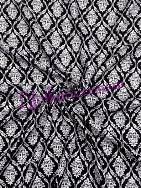 Штапель черно-белый узор