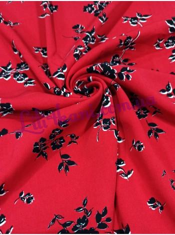 Штапель красный в черный цветочек