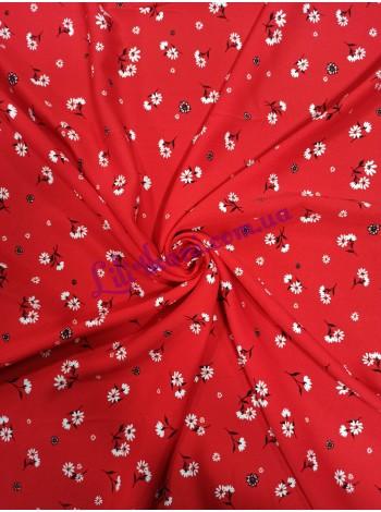 Штапель красный в мелкий цветочек